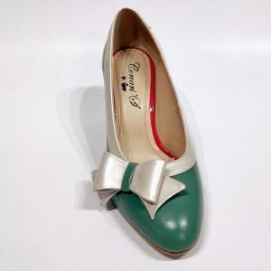 Pantofi verzi perlat cu toc gros