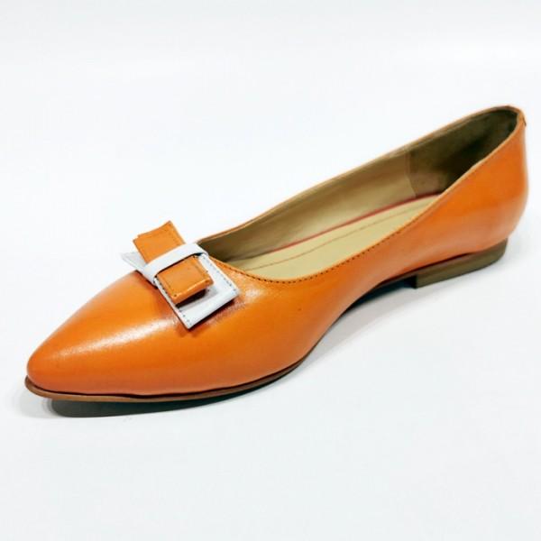 Orange Leather Balerrina