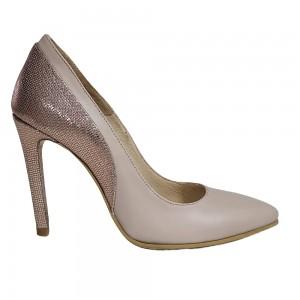Pantofi stiletto nude auriu