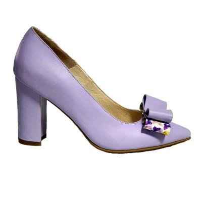 Pantofi lila cu toc gros si fundita