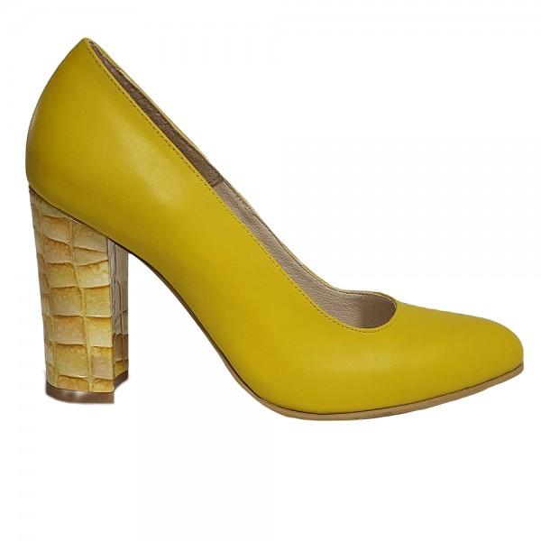 Pantofi stiletto galbeni toc gros