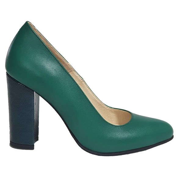 Pantofi verzi cu toc gros