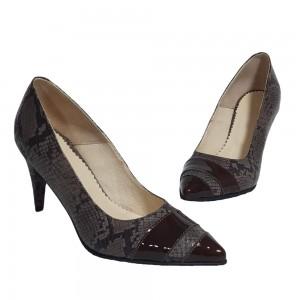 Pantofi stiletto maro imprimeu