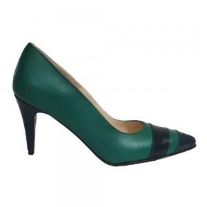 Pantofi stiletto verzi cu toc scurt