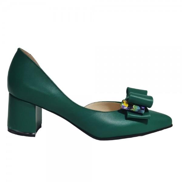 Pantofi decupați verzi cu fundiță
