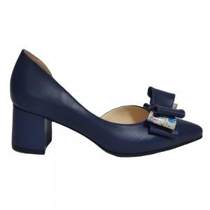 Pantofi decupați albastri cu fundiță