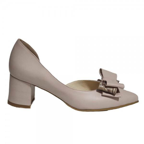 Pantofi decupați nude cu fundiță