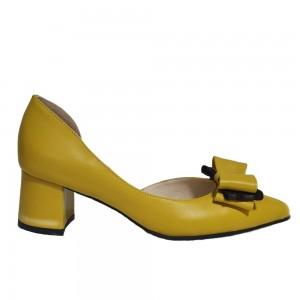 Pantofi decupați galbeni cu fundiță