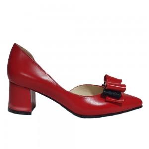 Pantofi decupați rosii cu fundiță