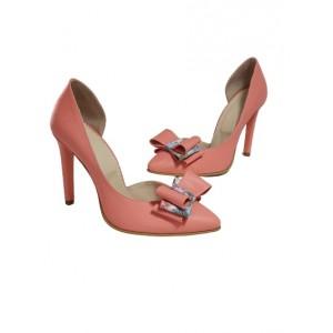 Pantofi stiletto decupati somon