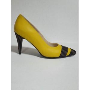 Pantofi stiletto galbeni - toc mediu