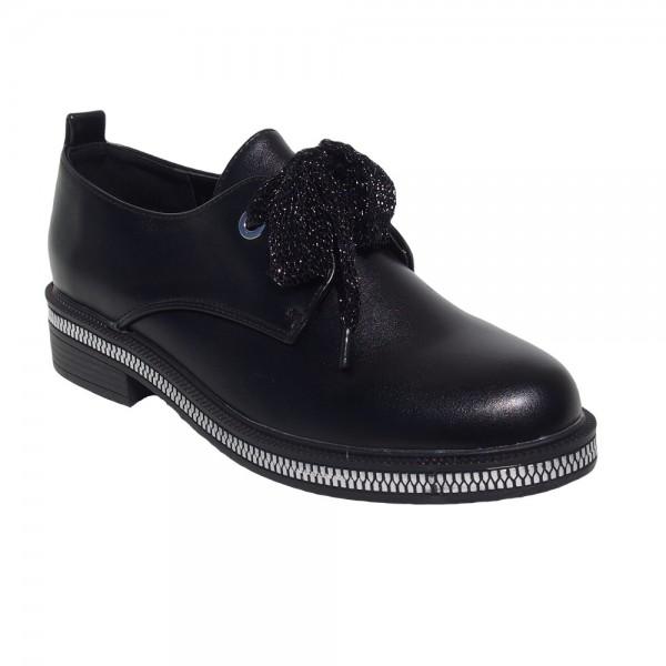 Pantofi Negri cu siret - imprimeu fermoar