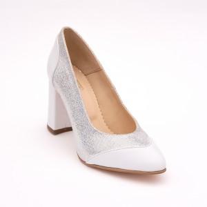 Pantofi Albi cu imprimeu cu toc gros