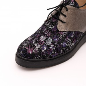 Pantofi Aurii si mov cu șiret
