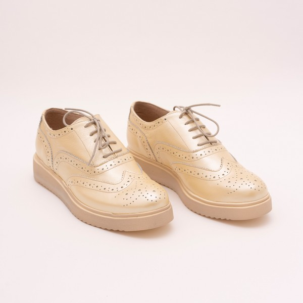 Pantofi Aurii cu șiret