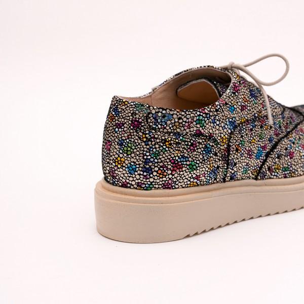 Pantofi Aurii Mozaic cu șiret