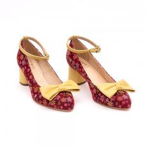 Tick heel dark purple shoe