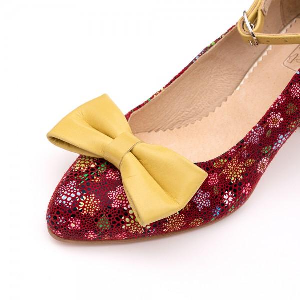Pantofi Bordo cu toc gros