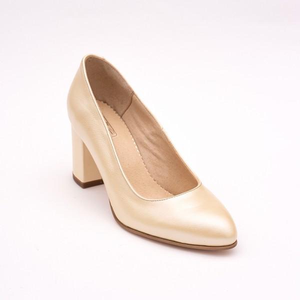 Pantofi Crem Sidef cu toc gros