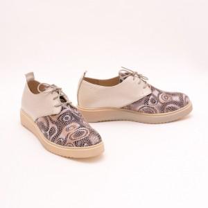 Pantofi Crem cu imprimeu si șiret