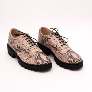 Pantofi Crem cu șiret și talpa neagra