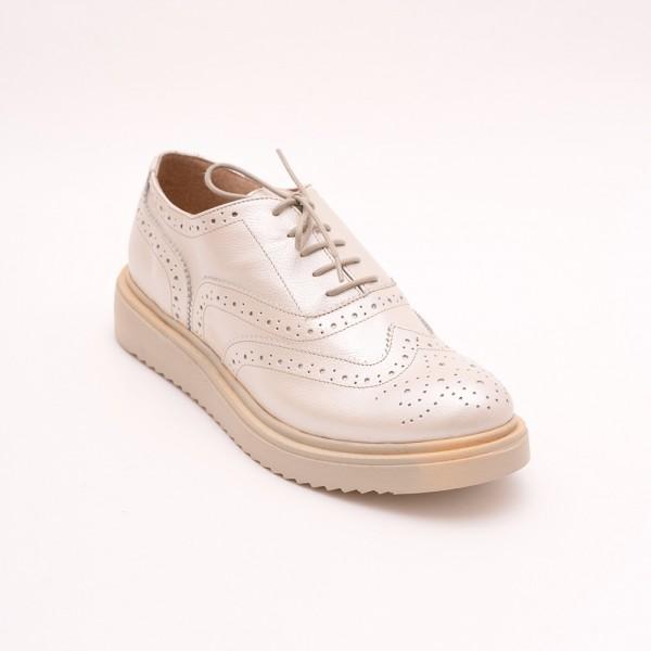 Pantofi Crem sidefat cu șiret