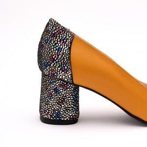 Pantofi Galbeni Mustar cu toc gros