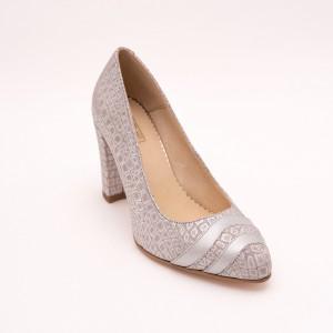 Tick heel grey office shoe