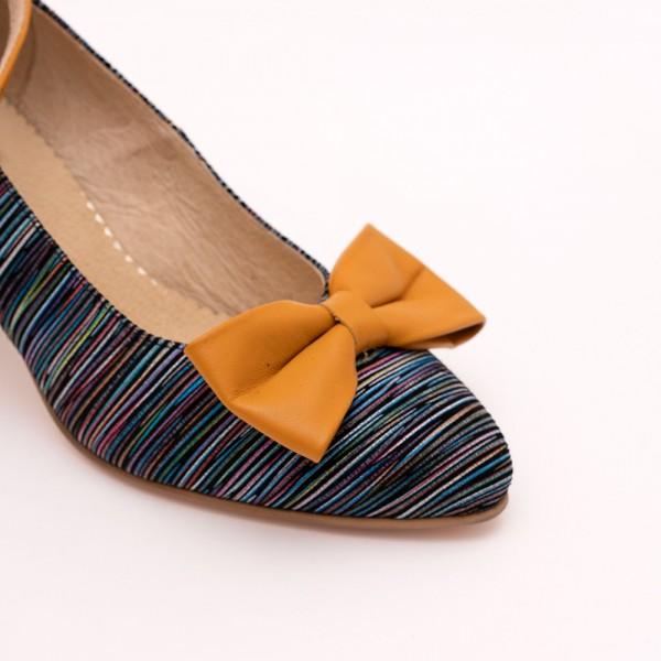 Pantofi Mustar cu imprimeu si toc gros