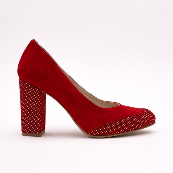 Pantofi Roșii cu toc gros