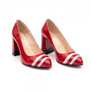 Pantofi Rosii cu dungi si toc gros