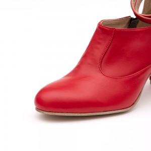 Pantofi Rosii cu Toc Gros
