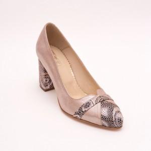 Pantofi Roz Pudra cu toc gros