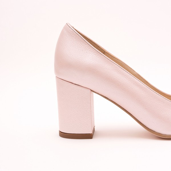 Pantofi Roz cu toc gros