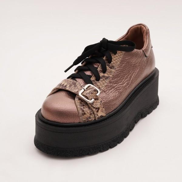 Pantofi Roz inchis cu Siret
