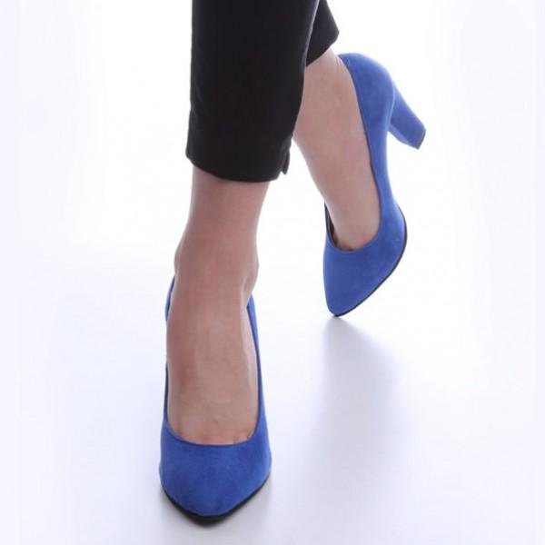 Pantofi Albastri cu Toc Gros