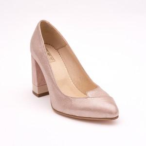 Tick heel beige shoe