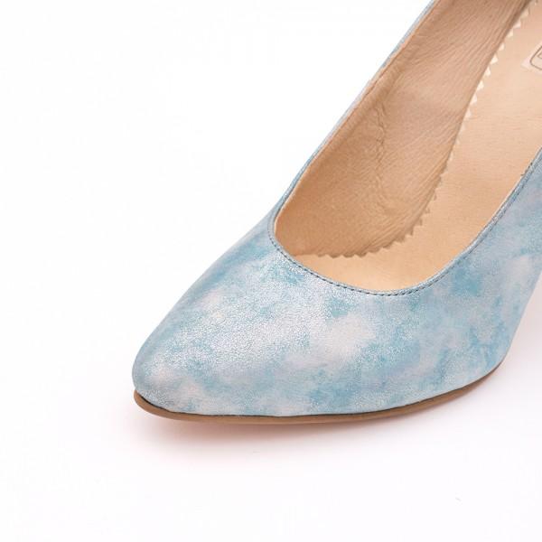 Pantofi Stiletto Bleu cu Imprimeu