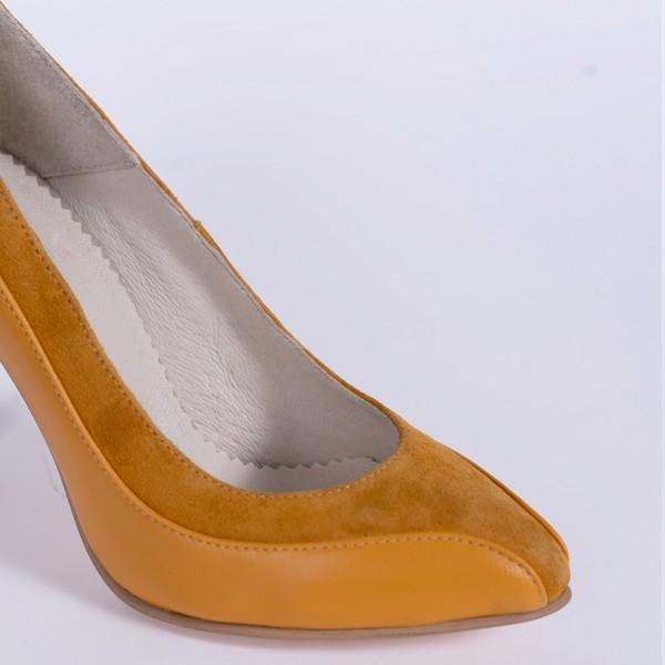 Pantofi dama stiletto mustar