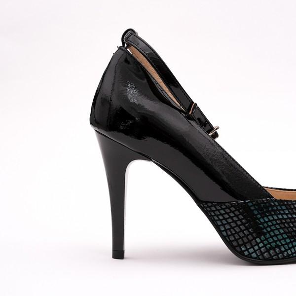 Pantofi dama stiletto negri cu imprimeu