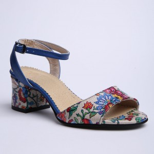 Blue sandals with print and thick heel