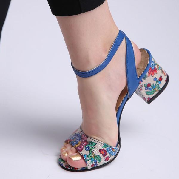 Sandale Albastre cu toc gros si imprimeu