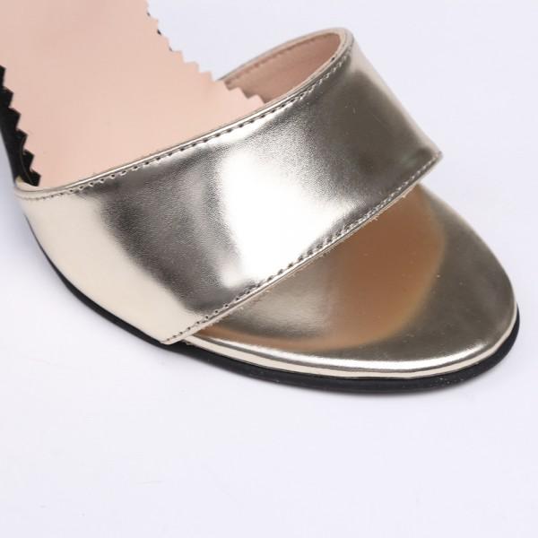 Sandale Aurii cu toc inalt