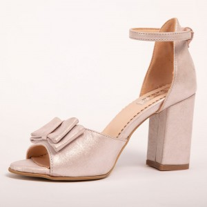 Beige Powder Sandals with high heel