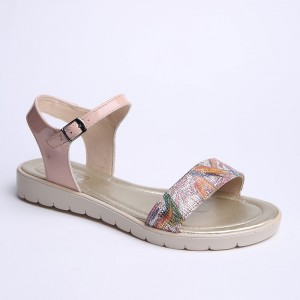 Beige Flower Sandals with low sole