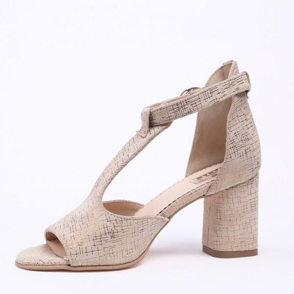 Sandale Crem cu toc mediu