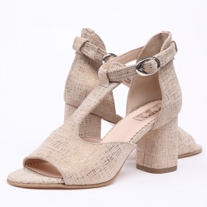Cream Sandals with medium heel