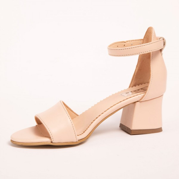 Sandale Crem simple cu toc jos