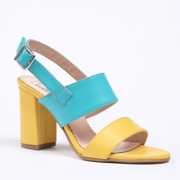 Sandale Galbene Turquoise cu toc inalt
