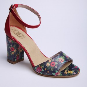 Red Flowered sandals with thick high heel